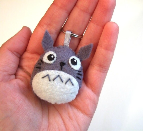Grey Totoro plush charm with keychain