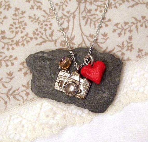 Silver plated camera charm necklace, with heart and crystal bead