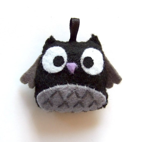 black and grey happy owl keychain  plushie