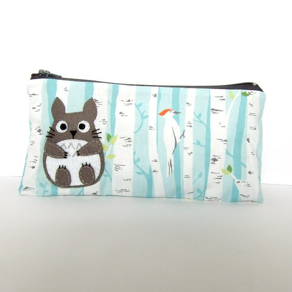 Totoro pouch / pencil case with Birch Forest fabric