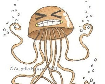 Original Art ACEO - Caffeine - Jellyfish Series