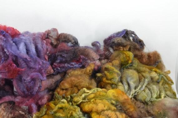 Hand Dyed Coopworth x Shetland LAMB Fleece Locks Spinning and Felting Fiber -Morel