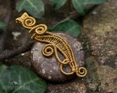 SALE Jasper and gold wire wrapped pendant