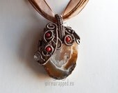 OOAK Wire wrapped agate geode, quartz and coral pendant