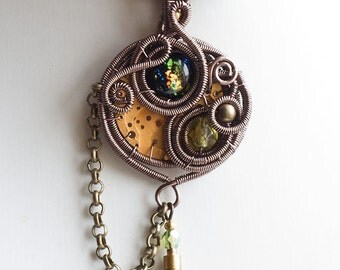 OOAK Steampunk pocket watch and dichroic glass wire wrapped pendant