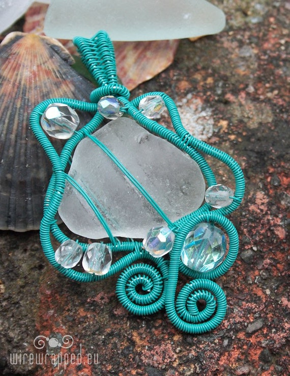 SALE Clear sea glass pendant wrapped in turquoise wire