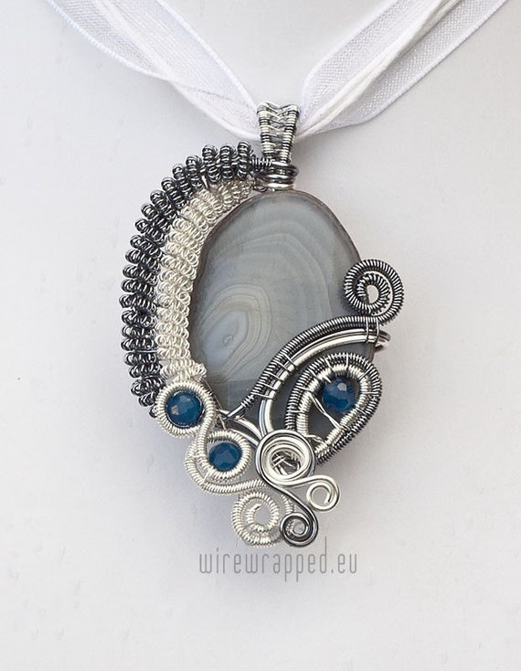 OOAK Grey and blue agate wire wrapped pendant