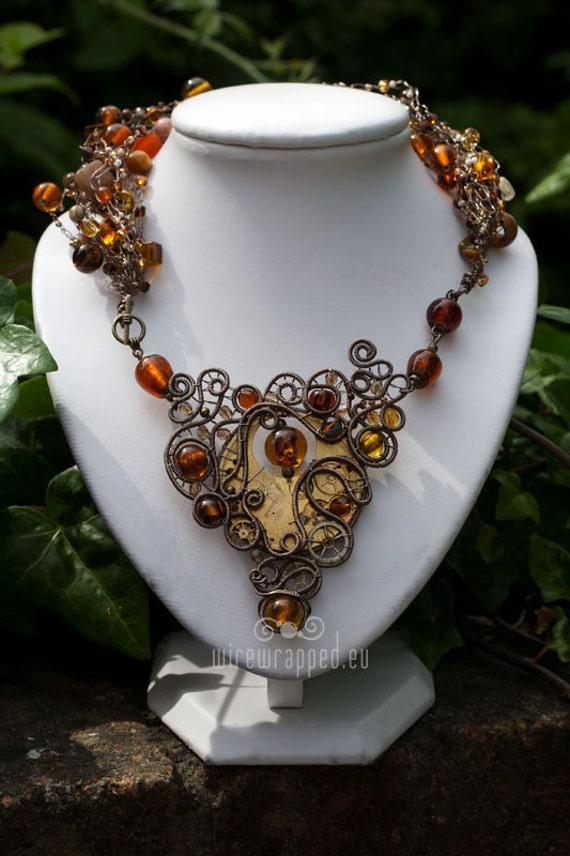 OOAK Brown and brass steampunk glass necklace