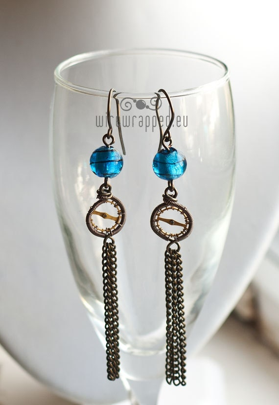 Electric blue steampunk wire wrapped earrings