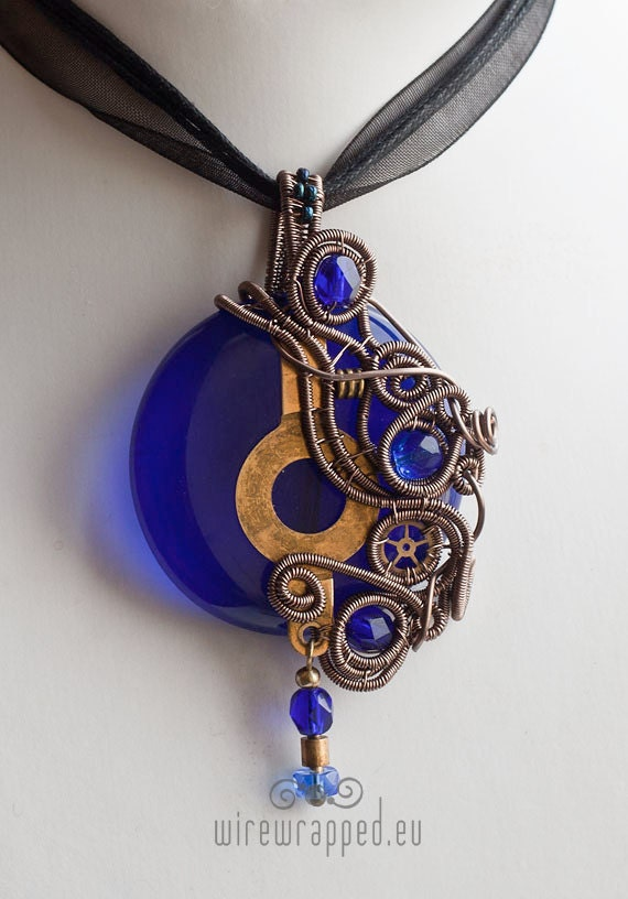 OOAK Steampunk cobalt blue fused glass wire wrapped pendant