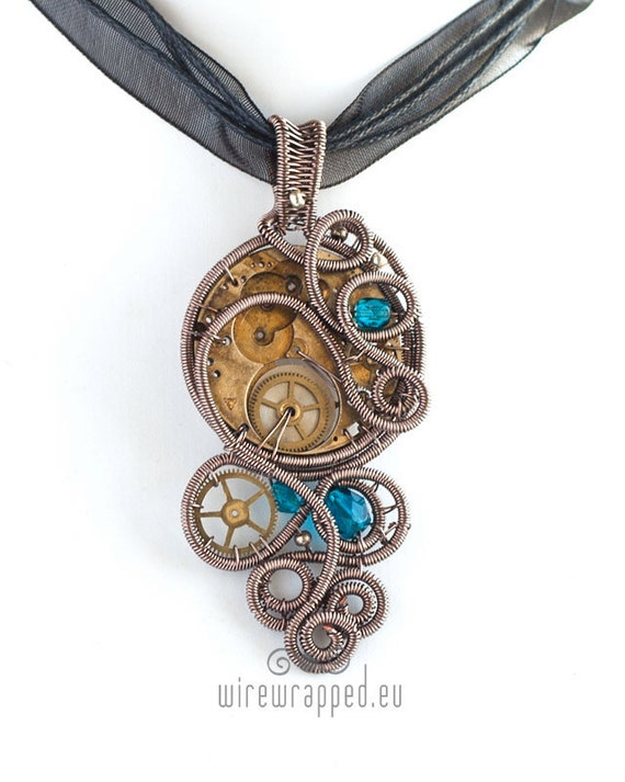 OOAK Steampunk wire wrapped pendant with blue beads
