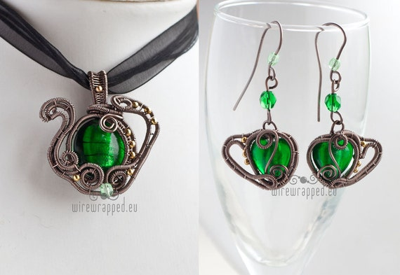 OOAK green teapot and teacups wire wrapped pendant and earrings set