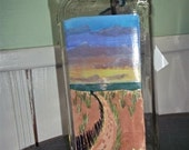 Beach Path at Sunset with Flip Flops Hand Painted Bottle Perfect Vase for Decorating a Nautical Room
