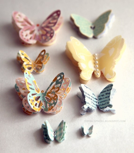 Self-adhesive embellished butteflies - YELLOW/LIGHT BLUE