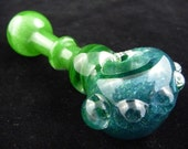 Glass Pipe - Tornado Twist - Green to Unobtainium Sparkle