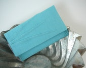 Mini-wallet - pleated teal linen