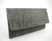 Wallet - gray crosshatch linen