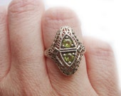 Reserved Antique Victorian Green Peridot Sterling Silver Ring Filigree Estate Size 6