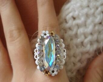 Swarovski Crystal Statement Cocktail Ring OOAK