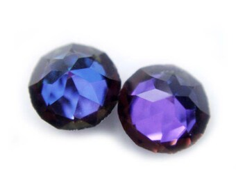 Vintage Swarovski Crystal Pointed Top Spike Purple Blue Color Changing Stud Earrings 6mm