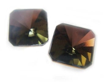 Rare Vintage Crystal Earrings 8mm Square Brown Gold Green