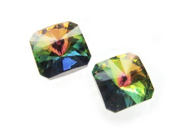 Square Rainbow Vintage Swarovski Crystal Earrings