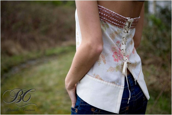Reserved Eco Friendly Beige Tan Pink Green Floral Strapless Boho Corset Style Lace up Top Blouse One of a Kind