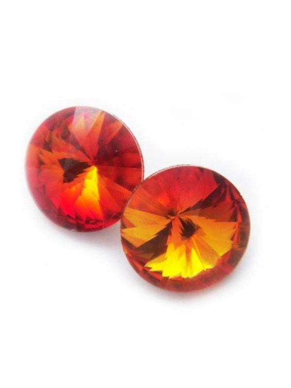 LAST PAIR Sunburst Golden Orange Swarovski Crystal Stud Earrings