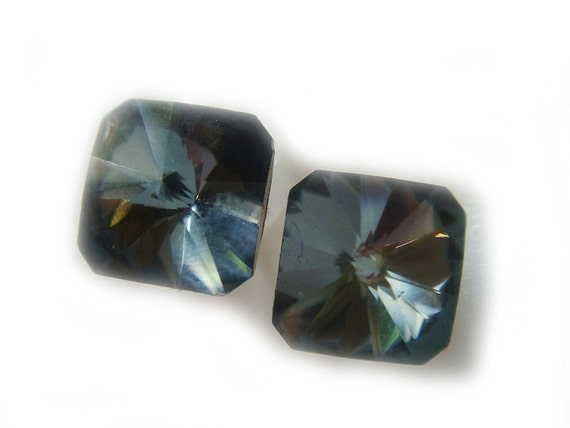Vintage Swarovski Crystal Earrings Limited Edition Blue Grey Square