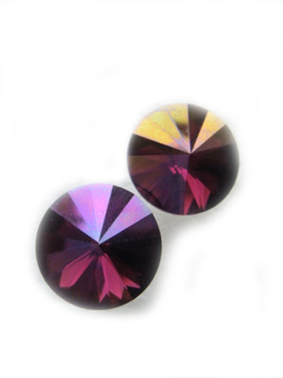 LAST PAIR Purple Gold Swarovski Crystal Earrings 12mm