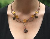 Pink Crystal and Pineapple Yellow Glass Necklace in Antique Brass - Butterflies, Medallion, Medieval, Chain, Scallop, Collar
