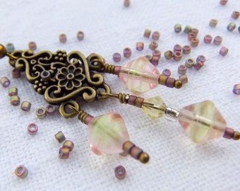 Pink and Yellow Ombre Blush Earrings in Antique Brass