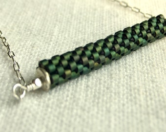 Modern Bar or  Stick Necklace - Peacock Green Glass, Silver Plate, Simple, Contemporary