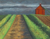 IOWA COUNTRY ROAD 8x16 Giclee print of Pastel Painting