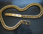 Reserved ... Vintage 80s Textured Link Heavy Chain Belt ... Size Small