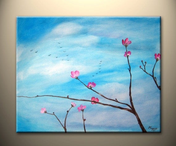 early cherry blossom -original painting, 16x20inch, ready to hang,on sale