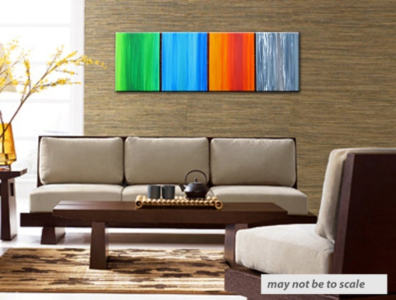 four seasons 3 - 48x16 inch huge original painting, on stretched canvas,ready to hang,on sale