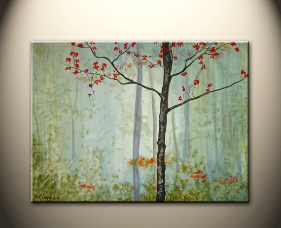 """Autumn morning in forest- 24""""x18"""" original modern painting, on stretched canvas, ready to hang,On Sale"""