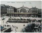 Vintage Unused French Postcard -  La Gare de l'Est, Paris, France