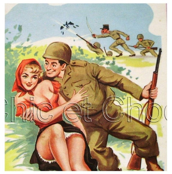 French Humorous WWII Cartoon Postcard - The Assault...