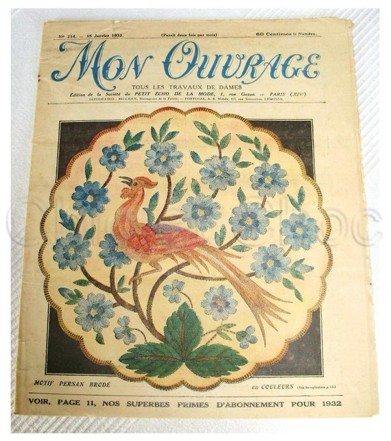 RESERVED - Vintage 30s French Art Deco Needlecraft / Craft Magazine with Patterns