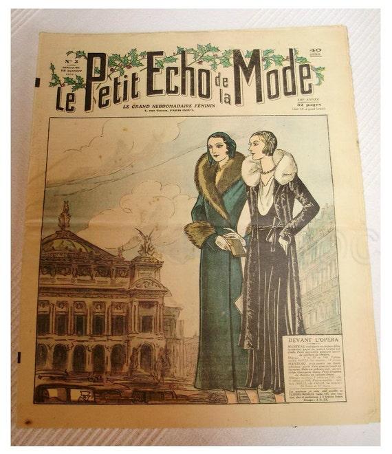 Vintage 30s French Art Deco Fashion Magazine of 1930 - Petit Echo de La Mode 'At the Opera'