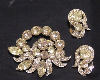 Vintage Eisenberg Ice brooch and earring set