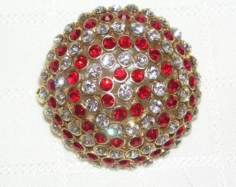 Retro Rhinestone Domed Brooch