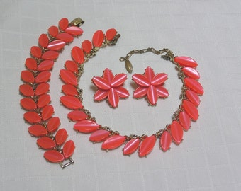 Vintage Kramer orange necklace, bracelet, earrings set
