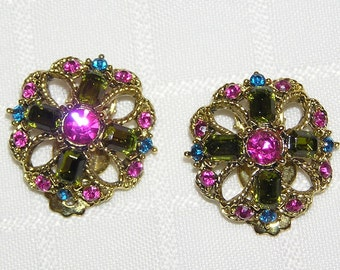 Vintage pink and green rhinestone Clip earrings