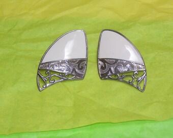 Vintage Berebi white enamel and gold tone earrings for pierced ears