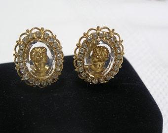 Vintage Joseph Warner Cameo Rhinestone Itaglio Clip earrings