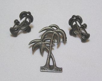 Vintage Desert Island Palm Trees Sterling Brooch and Screw Back Earrings