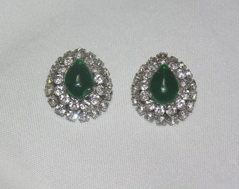 Vintage Tear drop Green glass and Double Rhinestone Border Clip Earrings